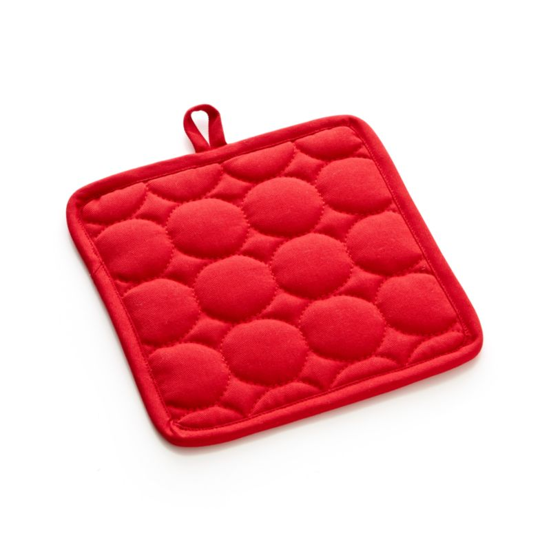 Distinctive circle quilting pops with fun texture on our bright crimson cotton potholder with plush terry lining and hanging loop.<br /><br /><NEWTAG/><ul><li>100% cotton body and terry lining</li><li>100% polyester fill</li><li>Machine wash</li><li>Made in India</li></ul>