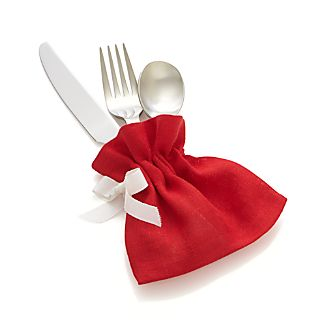 Red Linen Flatware Pouch