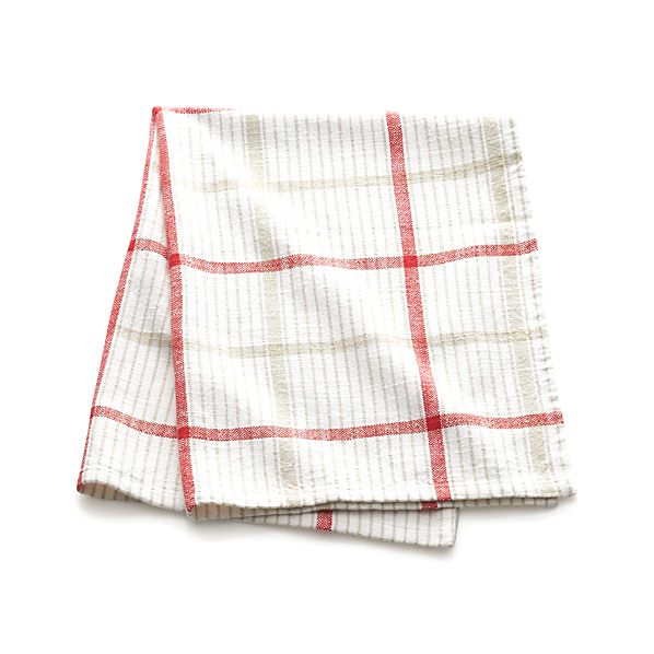 Red Neutral Plaid Dish Towel