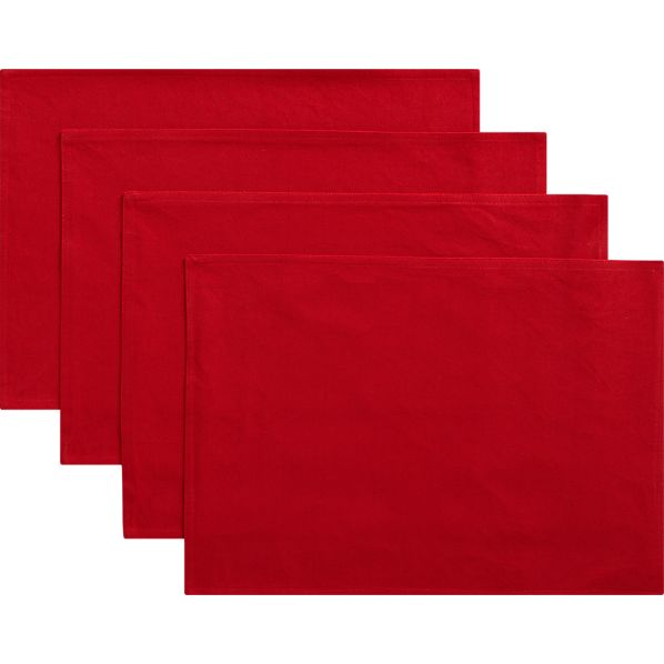 Set of 4 Red Placemats