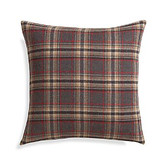 "Red Plaid 18"" Pillow with Feather-Down Insert"
