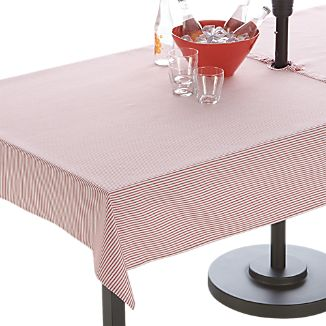 Red Ticking Stripe Rectangular Umbrella Tablecloth