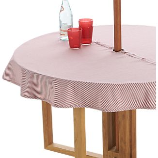"Red Ticking Stripe 60"" Round Umbrella Tablecloth"