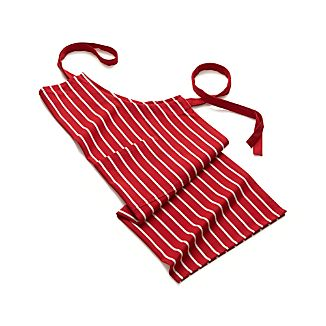 Red and White Butcher Stripe Apron