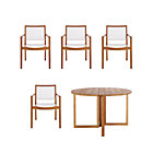 Regatta 5-Piece Dining Set (Round Dining Table, 4 Mesh Dining Chairs).