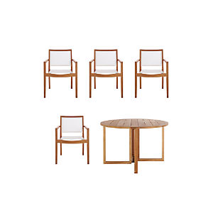Regatta 5-Piece Round Table/Mesh Chair Dining Set