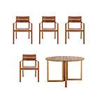 Regatta 5-Piece Dining Set (Round Dining Table, 4 Teak Dining Chairs).