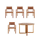 Regatta 5-Piece Dining Set (Round Dining Table, 4 Teak Dining Chairs).