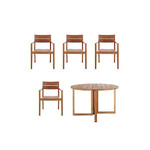 Regatta 5-Piece Round Table/Teak Chair Dining Set