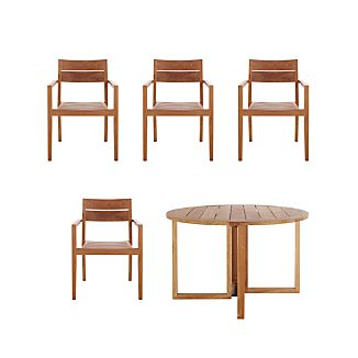Regatta 5-Piece Round Table/Teak Chair Dining Set