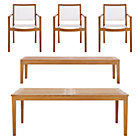 Regatta 5-Piece Dining Set (Extension Dining Table, 3 Mesh Dining Chairs, Bench).