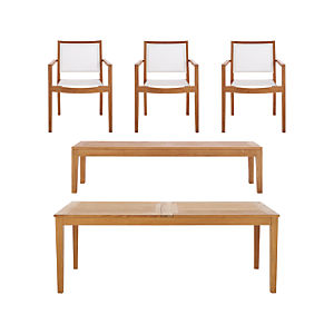 Regatta 5-Piece Extension Table with Mesh Dining Chair and Bench Set