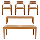 Regatta 5-Piece Dining Set (Extension Dining Table, 3 Teak Dining Chairs, Bench).