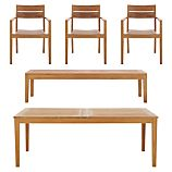 Regatta 5-Piece Extension Table with Teak Dining Chair and Bench Set