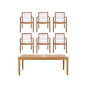 Regatta 7-Piece Extension Table/Mesh Chair Dining Set