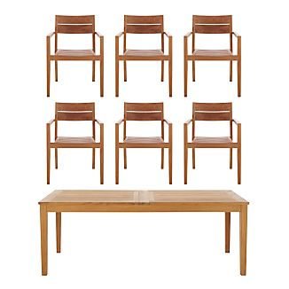 Regatta 7-Piece Extension Table with Teak Chair Dining Set