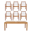 Regatta 7-Piece Dining Set (Rectangular Dining Table, 6 Mesh Dining Chairs).