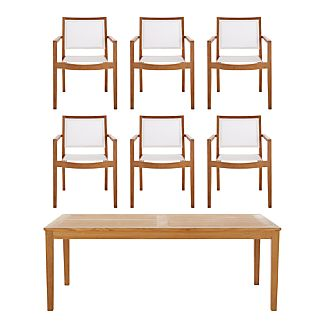 Regatta 7-Piece Rectangular Table/Mesh Chair Dining Set
