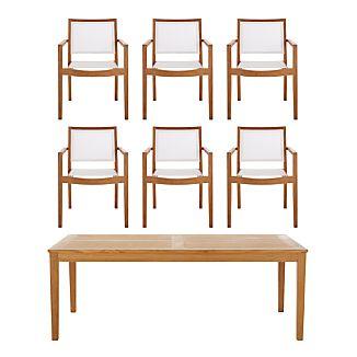 Regatta 7-Piece Rectangular Table/Mesh Chair Dining Set