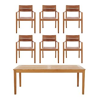 Regatta 7-Piece Rectangular Table/Teak Chair Dining Set