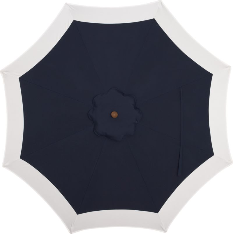 Seek shelter under a smart canopy of indigo banded with natural Sunbrella® acrylic that blocks out 98% of the sun's rays. Fits all of our 9' round frames. Frames and stands sold separately.<br /><br /><NEWTAG/><ul><li>Cover: fade- and mildew-resistant Sunbrella acrylic umbrella (fits all 9' round frames; spot clean)</li><li>Made in Mexico</li></ul><br />
