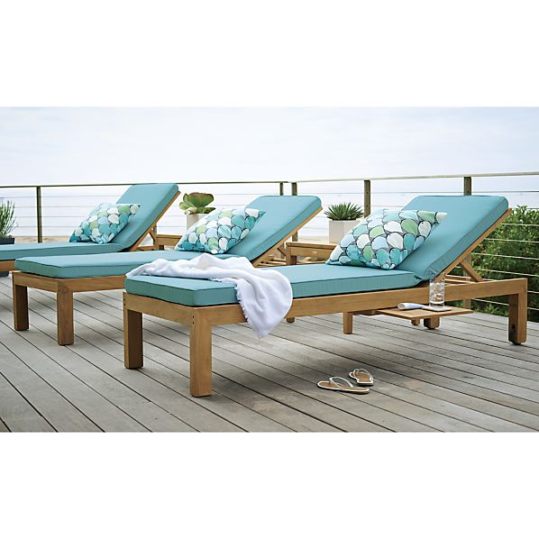 Regatta sunbrella mineral blue chaise lounge cushion for Blue chaise cushions