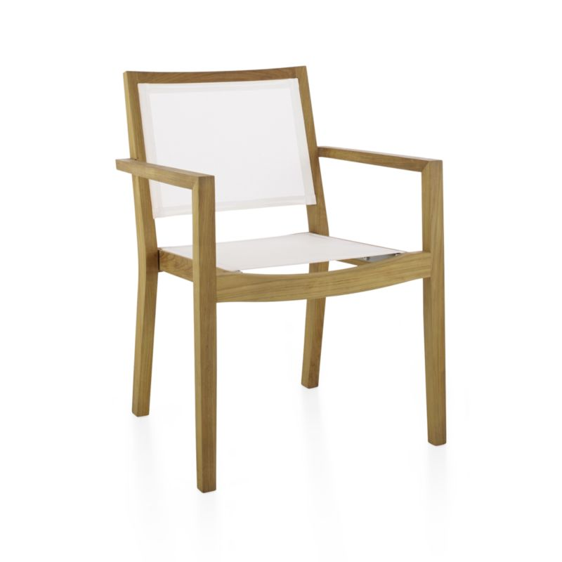 Our eco-friendly Regatta teak and mesh dining collection cuts a clean, classic profile in a bold design, handcrafted of solid teak certified by the Forest Stewardship Council (FSC), a nonprofit organization that encourages responsible management of the world's forests. Mesh dining chair option features UV- and fade-resistant Batyline® white mesh inserts. We recommend allowing the unfinished teak to weather to a silvery grey. To maintain the natural color, use our Golden Care® Teak Protector. Regatta lounge collection also available.<br /><br /><NEWTAG/><ul><li>Handcrafted</li><li>Solid FSC-certified teak</li><li>Unfinished</li><li>White Batyline synthetic mesh inserts</li><li>Mortise-and-tenon joinery</li><li>Stainless steel hardware</li><li>Stackable</li><li>Clean Batyline mesh with mild soap and water or our Sunbrella® Fabric Cleaner</li><li>Made in Indonesia</li></ul>