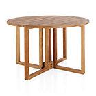 """Regatta Round Drop-Leaf Table. (2""""dia. umbrella hole); folded: 8""""W; overall:"""