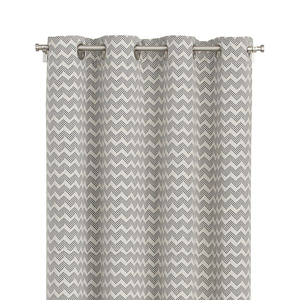 reilly grey chevron 50 x84 curtain panel crate and barrel. Black Bedroom Furniture Sets. Home Design Ideas