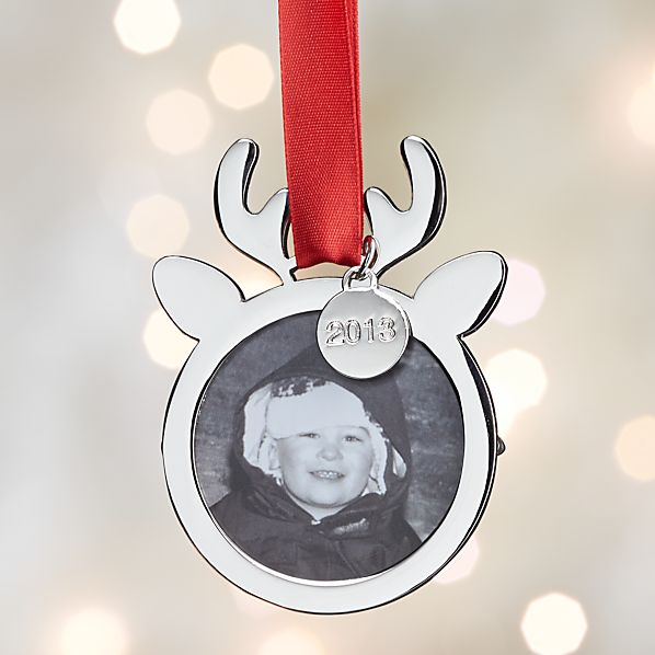 Silver Reindeer Frame Ornament with 2013 Charm