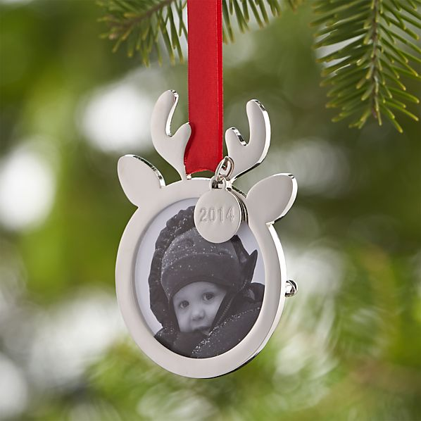 Silver Reindeer Photo Frame Ornament with 2014 Charm