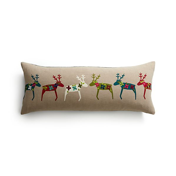 "Reindeer 30""x12"" Pillow with Feather-Down Insert"