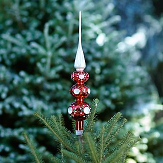 Retro Red and Green Glass Tree Topper