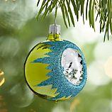 Retro Green Reflector Ball Ornament