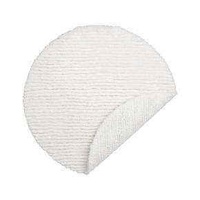 Reversible White Round Bath Rug