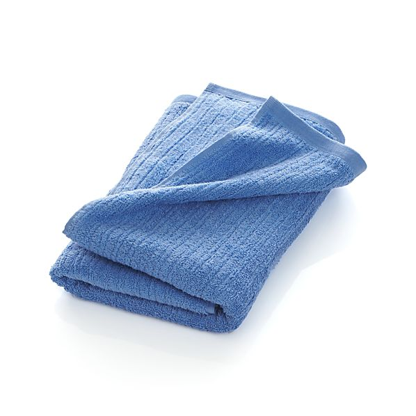 Ribbed Blue Bath Towel