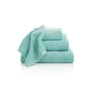 Ribbed Seafoam Bath Towels