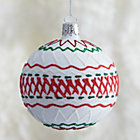 White Ric-Rac Ball Ornament.