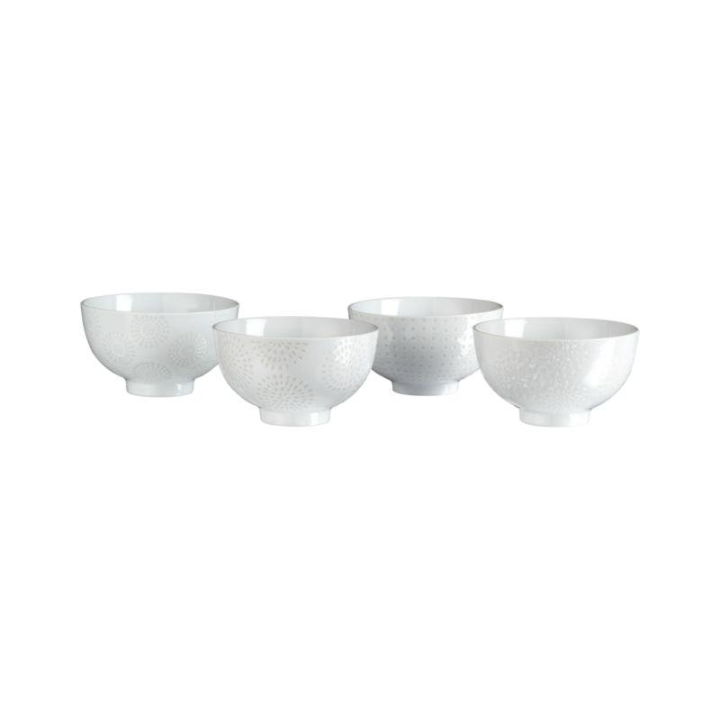 """Set of 4 Porcelain 4.25"""" Rice Bowls"""