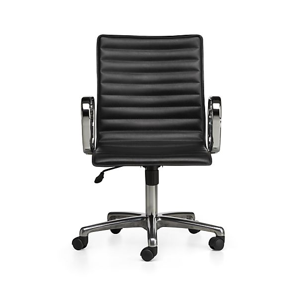 Ripple Black Leather Office Chair in Office Chairs | Crate and Barrel