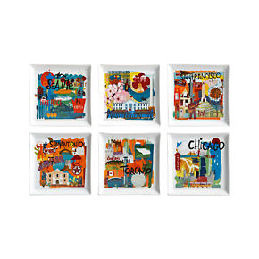 Set of 6 Road Trip Appetizer Plates