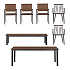 Rocha 7-Piece Dining Set (Dining Table, 3 Dining Chairs, 2 Union Charcoal Dining Chairs, Bench).