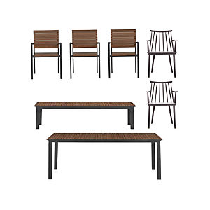 Rocha 7-Piece Dining Set with Union Charcoal Dining Chairs