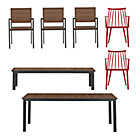 Rocha 7-Piece Dining Set (Dining Table, 3 Dining Chairs, 2 Union Red Dining Chairs, Bench).