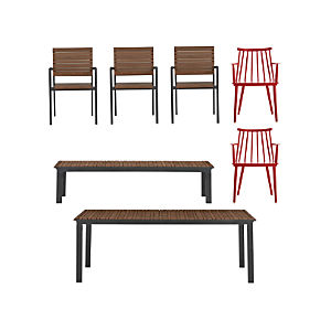Rocha 7-Piece Dining Set with Union Red Dining Chairs