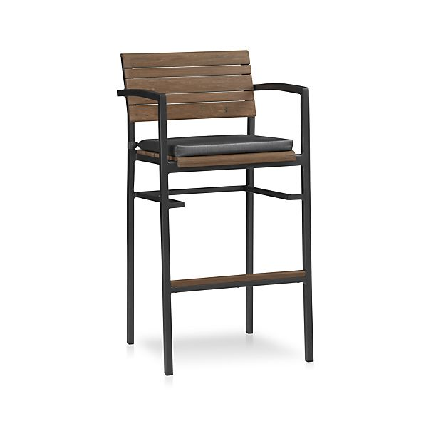 "Rocha 30"" Bar Stool with Sunbrella ® Charcoal Cushion"