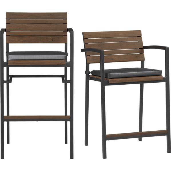 Rocha Bar Stools with Sunbrella ® Charcoal Cushion