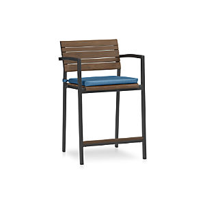 "Rocha 24"" Counter Stool with Sunbrella® Turkish Tile Cushion"