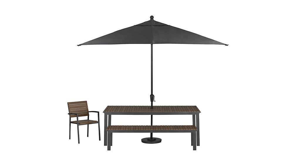 Rectangular Sunbrella R Charcoal Patio Umbrella With Black
