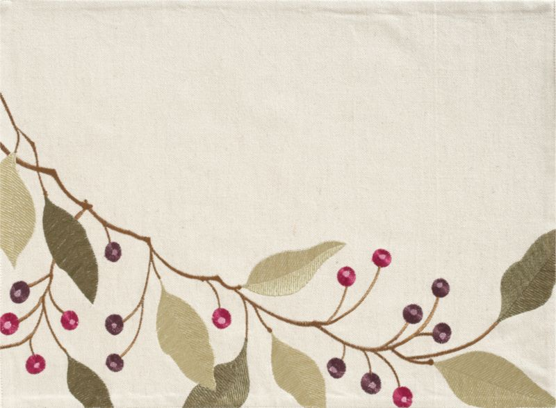 Sage and olive leaves branch asymmetrically with purple berries in raised-relief embroidery on natural cotton chambray with an organic linen look.<br /><br /><NEWTAG/><ul><li>100% cotton with rayon embroidery</li><li>Machine wash; warm iron as needed</li><li>Made in India</li></ul>